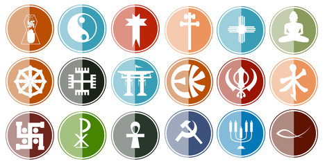 Glossy Icon Set of Religious Symbols