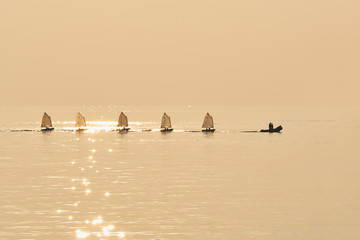Printed roller blinds Water Motor sports Group of Optimist sails towed into port bu rubber boat