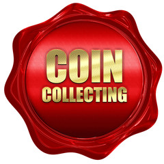 coin collecting, 3D rendering, a red wax seal