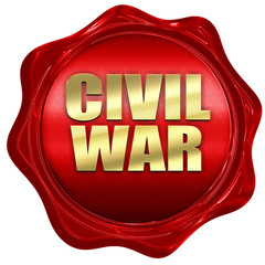 civil war, 3D rendering, a red wax seal
