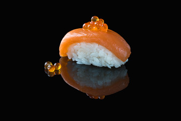Classic sushi on a black background