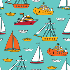 Seamless pattern with marine vessels.