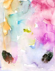 Watercolor background with foliage