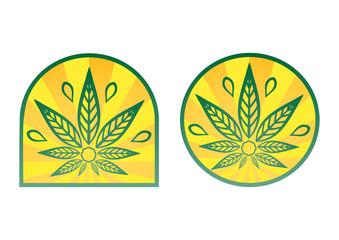 Cannabis logo. Hemp simple icons on yellow radial background.