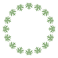 Round green frame of stylized cannabis leaf.