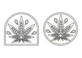 Cannabis logo. Hemp Line icons.