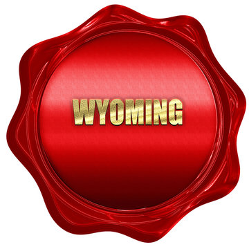 wyoming, 3D rendering, a red wax seal