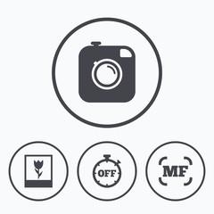 Photo camera icon. Manual focus and Macro signs.