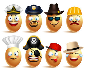 Set of vector egg faces of professionals with caps in emotions and facial expressions isolated in white background. Vector illustration