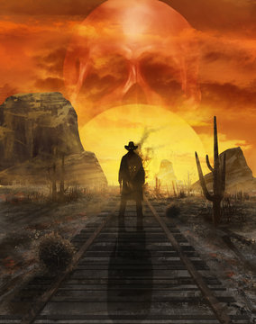Ghost cowboy illustration. Illustration of a mystic cowboy ghost standing on a western desert railroad on a sunset with sun in skull shape.