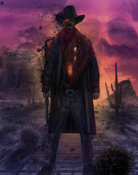 Ghost cowboy character illustration. Illustration of a mystic dead cowboy ghost standing on a western desert railroad with gun & outfit on a purple skull sunset.