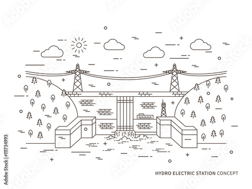 linear hydro electric station (hydroelectric power plant) vector  illustration  hydro power engineering creative
