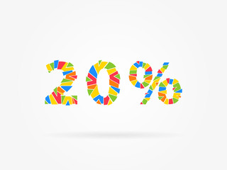 20 % discount colorful vector illustration on grey background. 20 (twenty) percent off discount creative promotion concept. Special offer isolated element for  banner, coupon.