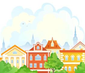 Cartoon summer town