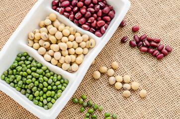 Mix of seeds beans, green bean, azuki or red bean, soy bean