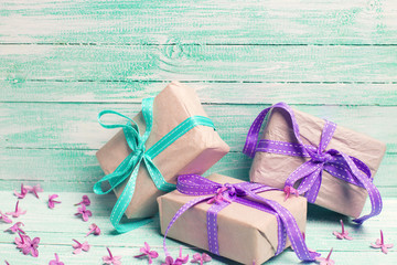 Festive gift boxes and flowers