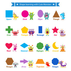 Shapes learning with cute monster