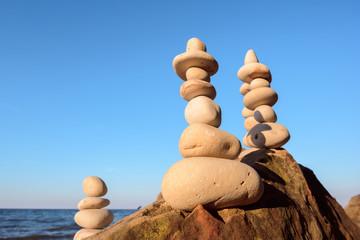Three stacks of stones