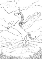 Hand drawn magic Unicorn. Coloring page with high details. Vecto