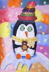 """Детский рисунок гуашью """"Новогодний пингвин"""""""