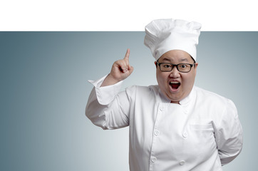 Asian chef point above on plain radius background