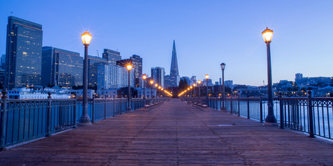 San Francisco Downtown from Pier 7, Dusk.