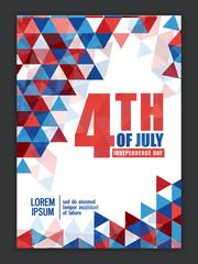 Pamphlet, Banner or Flyer for 4th of July.