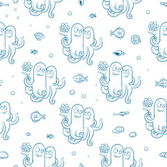 Marine seamless pattern with cute cartoon octopus, fish and shells on white background. Underwater life. Children's illustration. Vector contour image.