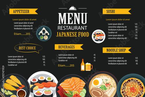 Japanese food menu restaurant brochure design template for Asian 168 cuisine menu