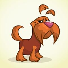 Cute cartoon scottish terrier. Vector brown Scottie dog