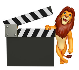 cute  Lion cartoon character with clapboard