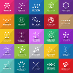 Network Icons Set - Isolated On Mosaic Background - Vector Illustration, Graphic Design. For Web, Websites,Apps, Print, Presentation Templates, Mobile Applications And Promotional Materials
