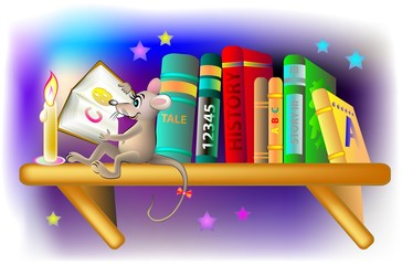 Illustration of happy mouse reading a book at night, vector cartoon image.