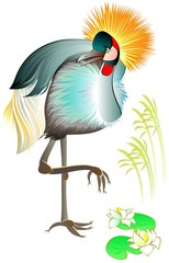 Illustration of beautiful crowned crane, vector cartoon image.
