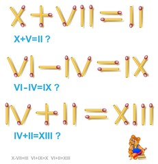 Logic puzzle. In each task move 1 matchstick to make the equations correct. Vector image.
