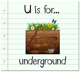 Flashcard letter U is for underground