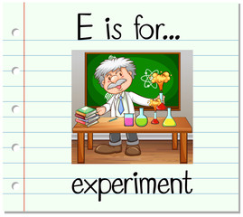Flashcard letter E is for experiment