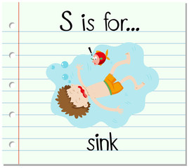 Flashcard letter S is for sink