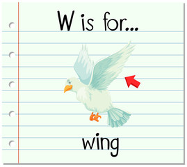 Flashcard letter W is for wing