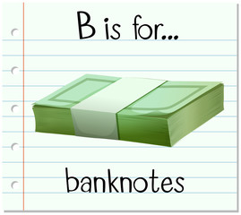 Flashcard letter B is for banknotes