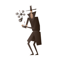 Vector cartoon image of a spy in a black coat, a hat and sunglasses with a remote control in hands and flying spy drone near on a white background. Surveillance, paranoia. Big brother is watching you.