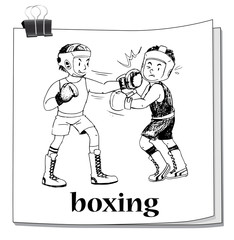 Doodle men doing boxing