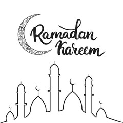 Ramadan Kareem Greeting Card Background With Moon Lettering And Mosque Vector Illustration For