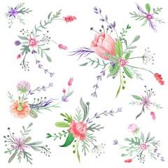 Summer Romantic Watercolor Bouquets
