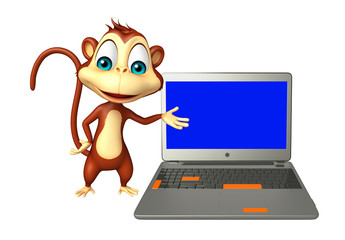 Monkey cartoon character with laptop