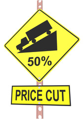 Yellow road sign with 30% discount message and sale alert