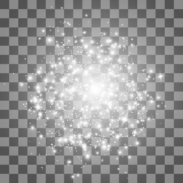 Glow light effect. Stardust on a transparent background. Lights on transparent background