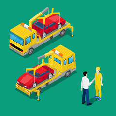 Isometric Car Assistance. Roadside Assistance Car. Tow Truck. Vector