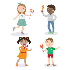 Children with Lollipops. Happy Children. Boy with Candy. Girl with Lollipop