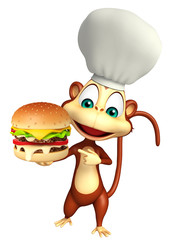 Monkey cartoon character with burger and chef hat